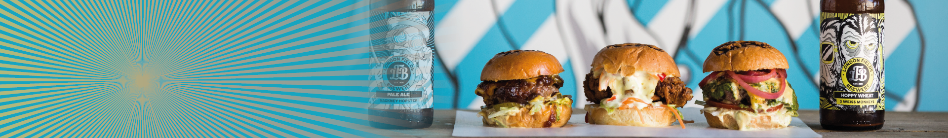 Burger mit London Field Bierflaschen